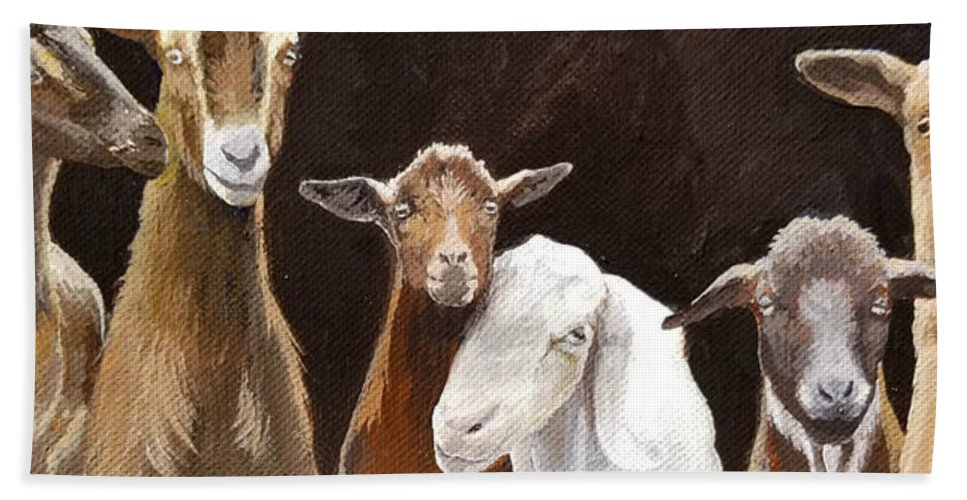 Goat Painting Beach Towel featuring the painting The Goats by Jennifer McDuffie