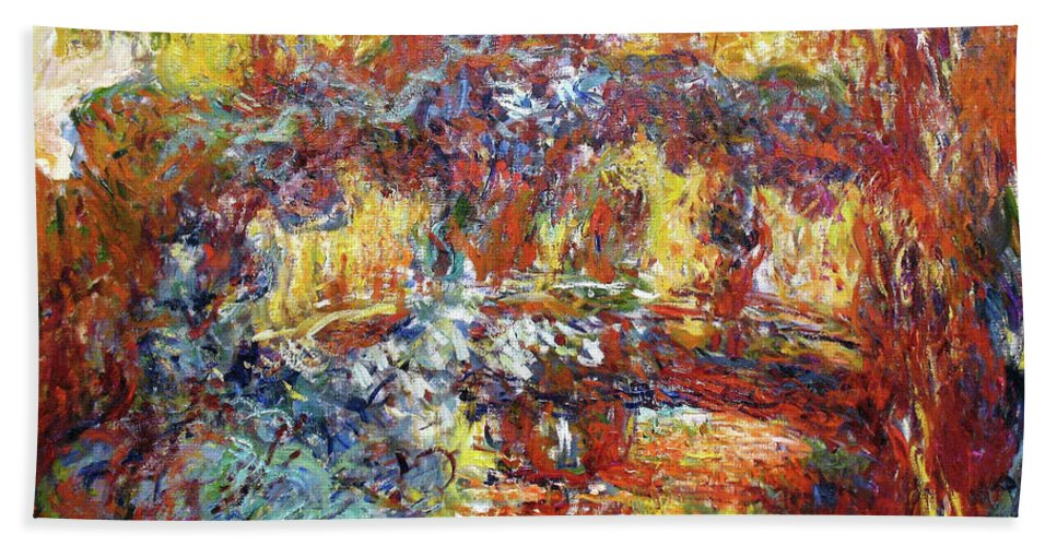 Claude Monet Beach Sheet featuring the painting The Japanese Bridge, 1922 - Digital Remastered Edition by Claude Monet