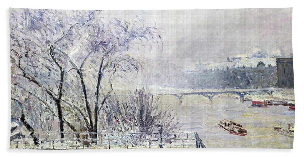 The Louvre Under Snow Beach Sheet featuring the painting The Louvre Under Snow - Digital Remastered Edition by Camille Pissarro