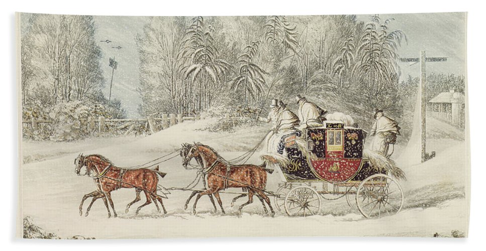 The Mail Coach In A Storm Of Snow Beach Towel featuring the painting The Mail Coach In A Storm Of Snow 1825 by James Pollard
