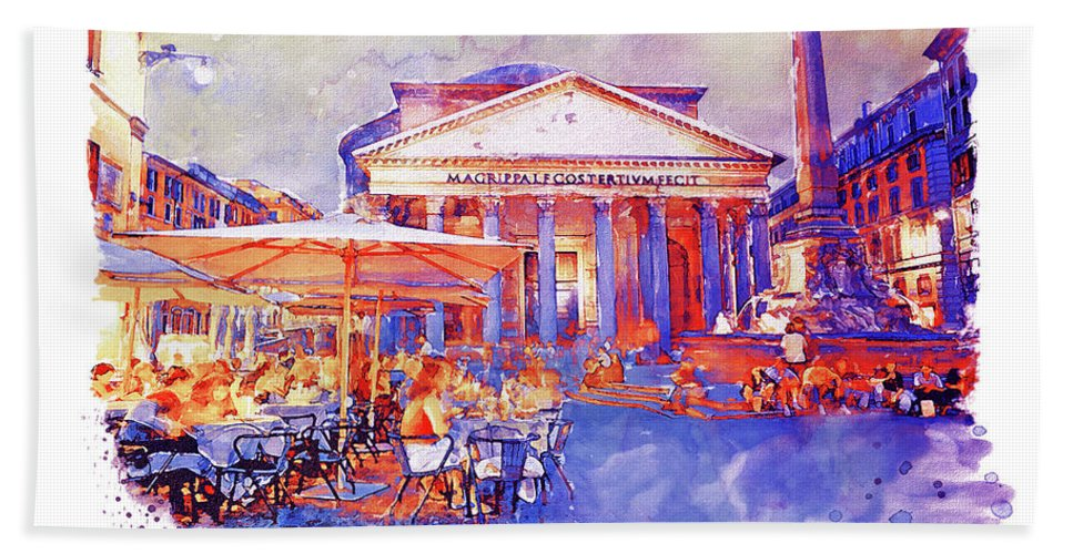 The Pantheon Beach Towel featuring the painting The Pantheon Rome Watercolor Streetscape by Marian Voicu