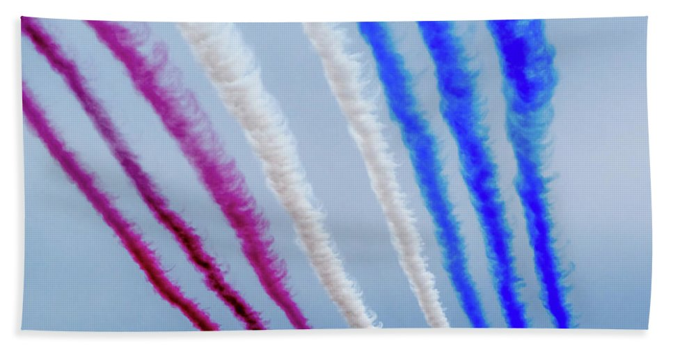 Beach Sheet featuring the photograph The Red Arrows. by Angela Aird