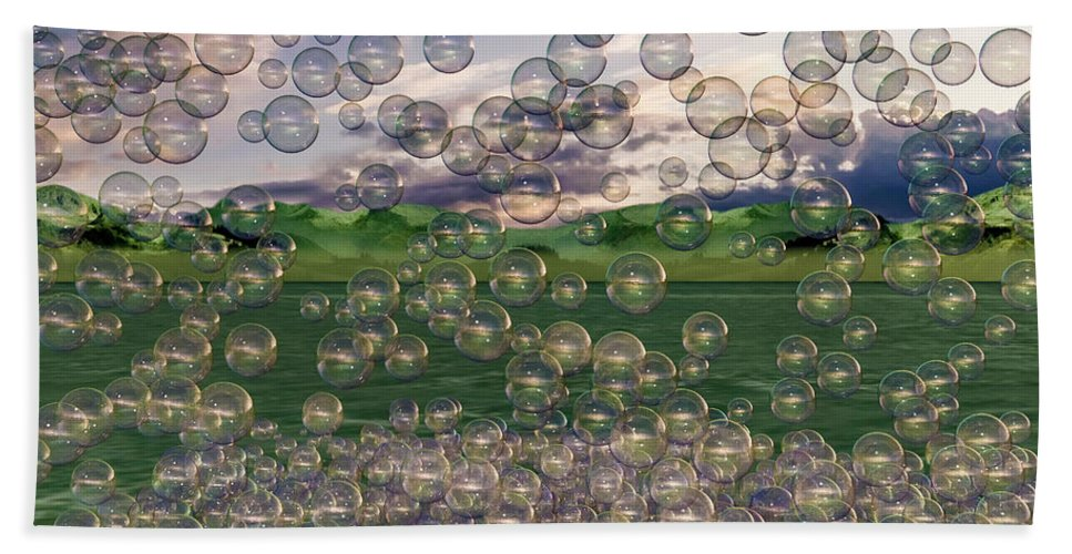 Bubble Beach Towel featuring the digital art The Simplicity Of Bubbles by Betsy Knapp