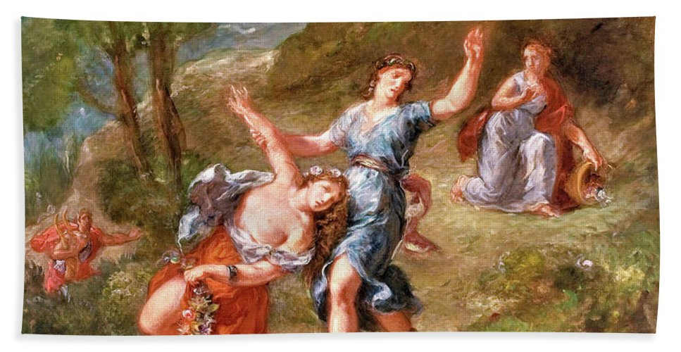 The Spring Beach Towel featuring the painting The Spring - Eurydice Bitten By A Serpent While Picking Flowers, Eurydice's Death by Eugene Delacroix