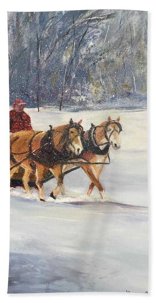 Horses Beach Towel featuring the painting Through The Snow by Maureen Obey