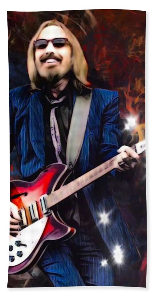 Tom Petty Beach Towel featuring the digital art Tom Petty Portrait by Scott Wallace Digital Designs