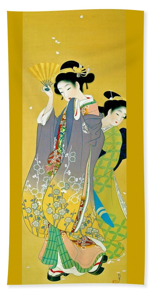 Uemura Beach Towel featuring the painting Top Quality Art - Cherry Blossom Viewing by Uemura Shoen