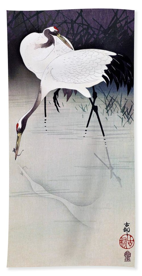 Ohara Beach Towel featuring the painting Top Quality Art - Japanese Crane by Ohara Koson