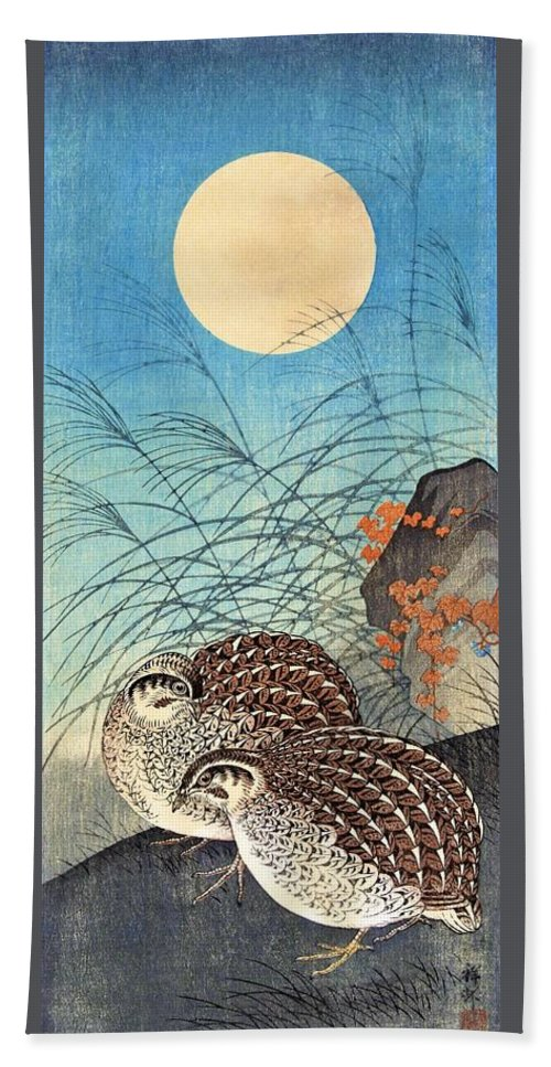 Ohara Beach Towel featuring the painting Top Quality Art - Moon And Quail by Ohara Koson