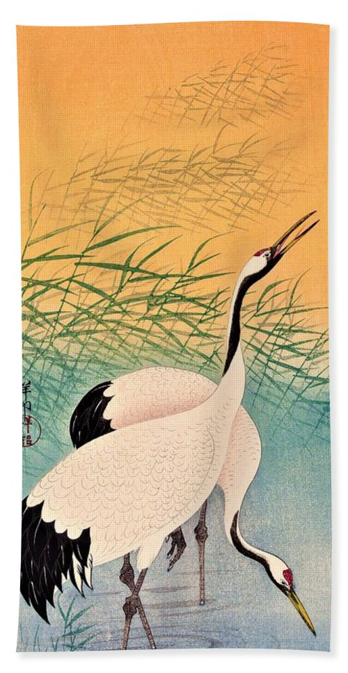 Ohara Beach Towel featuring the painting Top Quality Art - Two Japanese Crane by Ohara Koson