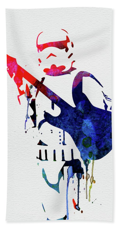 Beach Towel featuring the mixed media Trooper Playing Guitar Watercolor by Naxart Studio
