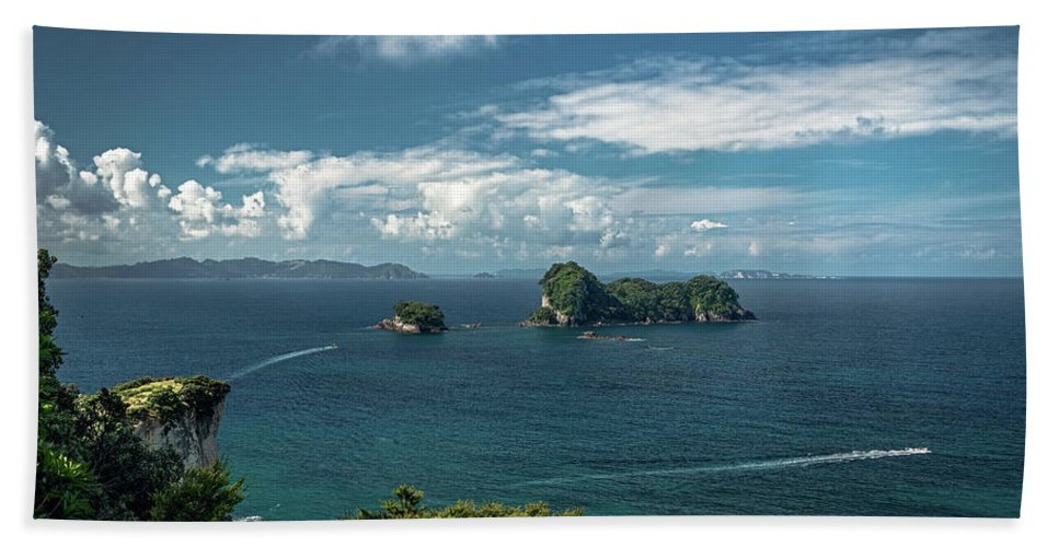 Sea Beach Towel featuring the photograph Tropical Island In The Ocean by Hanna Tor