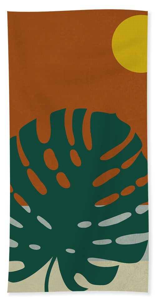 Tropical Leaf Beach Towel featuring the mixed media Tropical Leaf And Blue Moon by Naxart Studio