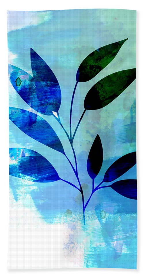 Tropical Leaf Beach Towel featuring the mixed media Tropical Leaf Watercolor II by Naxart Studio