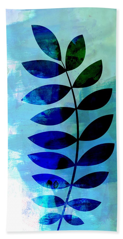 Tropical Leaf Beach Towel featuring the mixed media Tropical Zamioculcas Leaf Watercolor by Naxart Studio