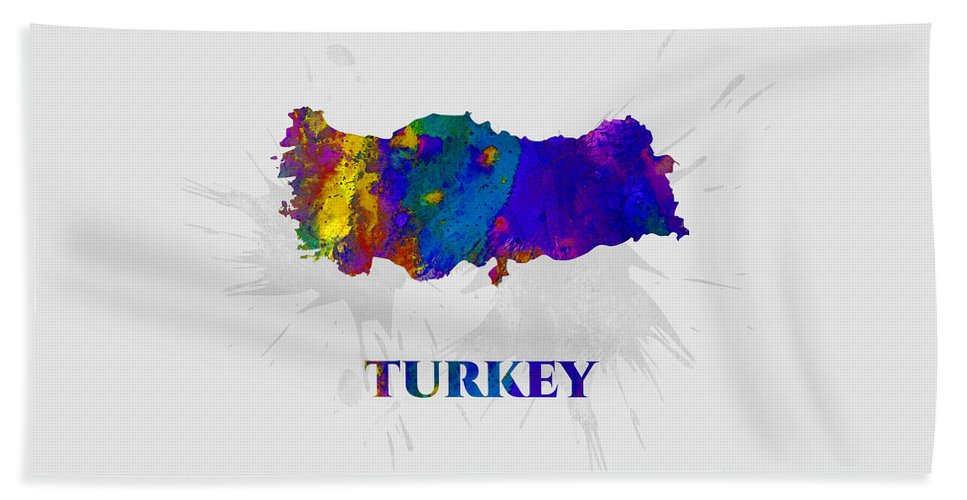 Turkey Beach Towel featuring the mixed media Turkey, Map, Artist Singh by Artist Singh MAPS