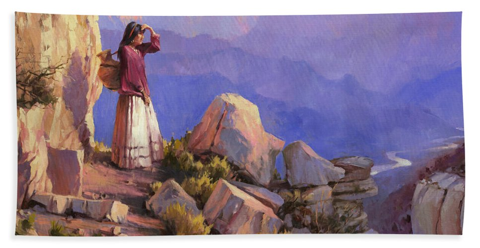 Grand Canyon Beach Towel featuring the painting Turning Point by Steve Henderson