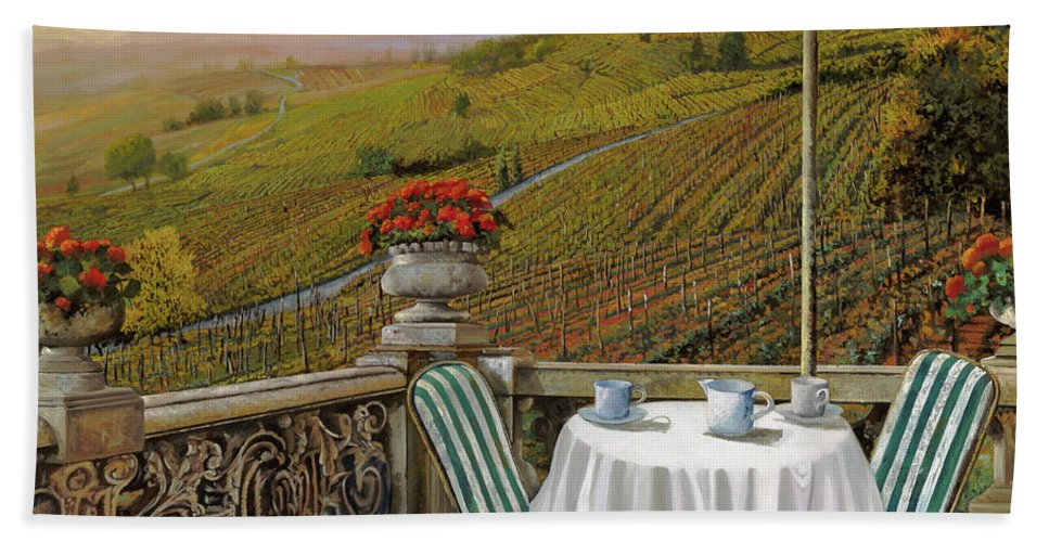 Vineyard Beach Towel featuring the painting Un Caffe' Nelle Vigne by Guido Borelli
