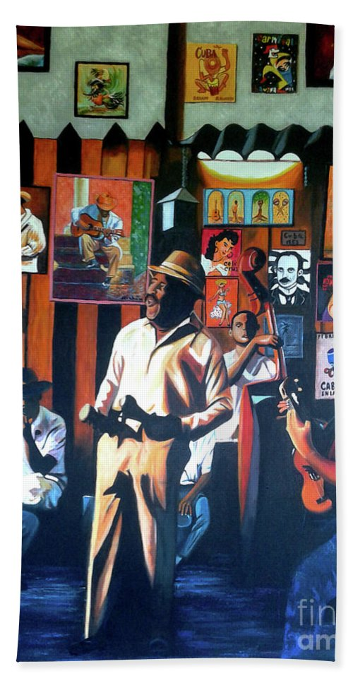 Bar Beach Towel featuring the painting Uncle Bar by Jose Manuel Abraham