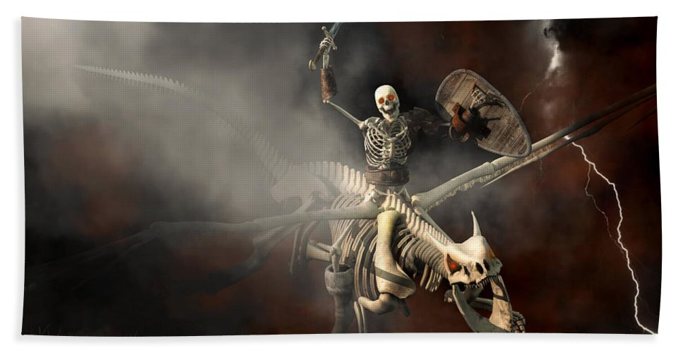 Skeleton Beach Towel featuring the digital art Undead Dragon And Skeleton Rider by Daniel Eskridge