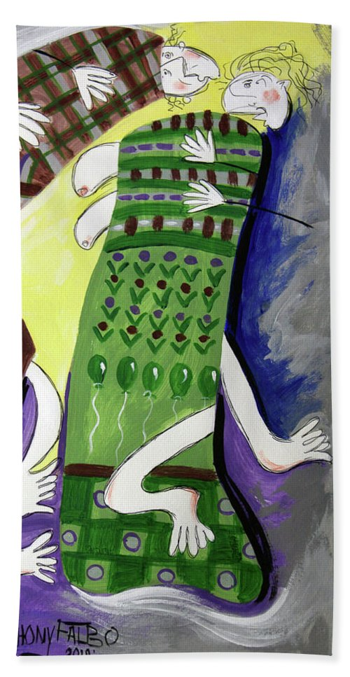 Cubism Beach Towel featuring the painting Unexpected Love by Anthony Falbo