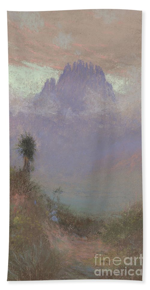 Mountainous Beach Towel featuring the painting Untitled Mountain Landscape, 1920, Pastel by Charles Franklin Reaugh
