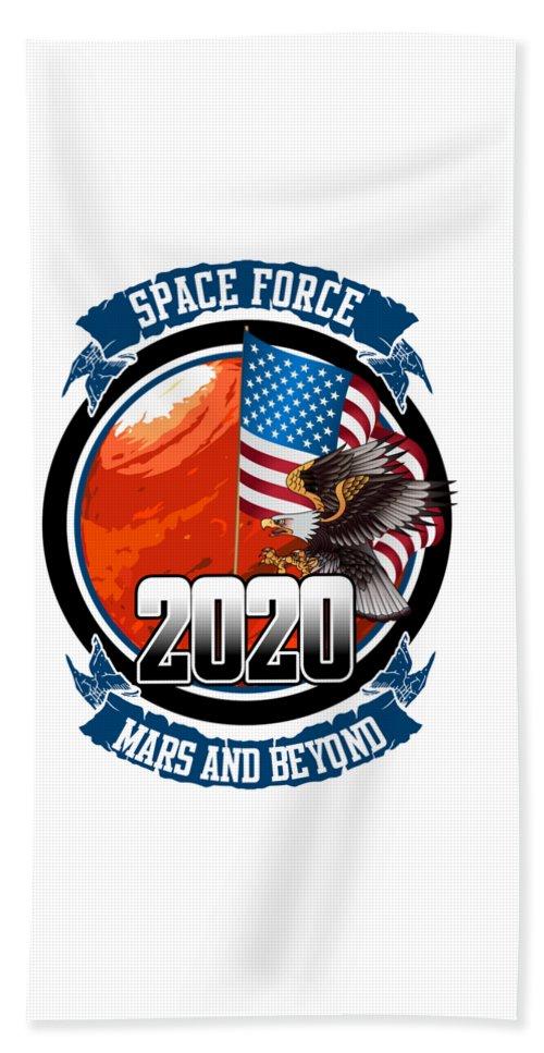 Space-force Beach Towel featuring the digital art Us Space Force Art Military Bald Eagle Mars Light by Nikita Goel