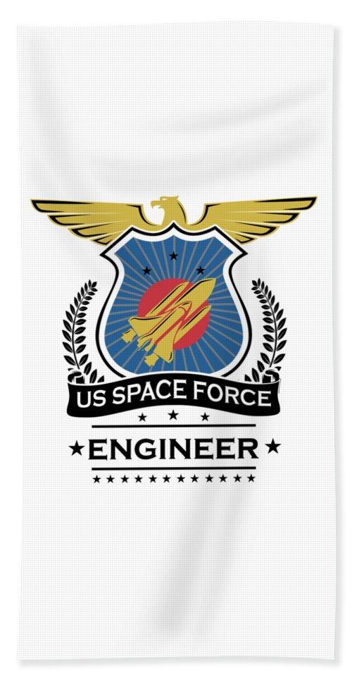 Space-force Beach Towel featuring the digital art Us Space Force Crew Member Art For Spaceship Engineer Light by Nikita Goel