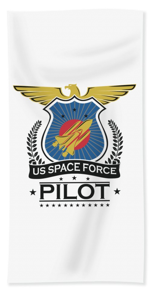 Space-force Beach Towel featuring the digital art Us Space Force Crew Member Art For Spaceship Pilot Light by Nikita Goel