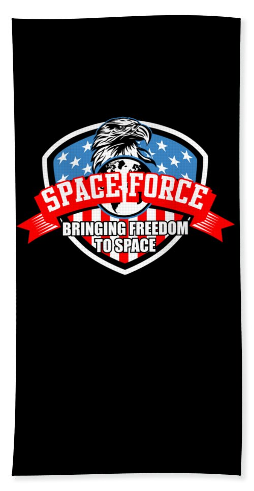 Space-force Beach Towel featuring the digital art Us Space Force New Military Branch Novelty Gift Dark by Nikita Goel