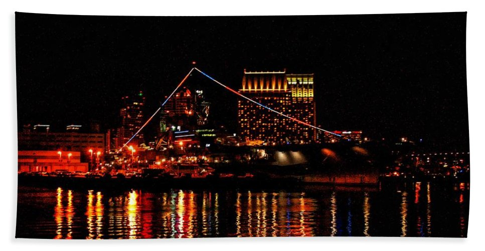 Uss Midway Beach Towel featuring the photograph Uss Midway At Night by Tommy Anderson