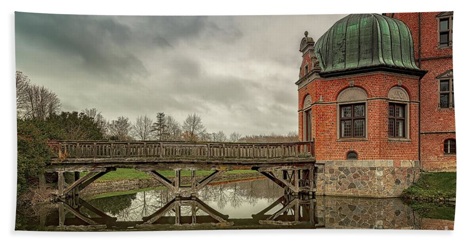 Architecture Beach Towel featuring the photograph Vallo Castle Wooden Moat Bridge by Antony McAulay