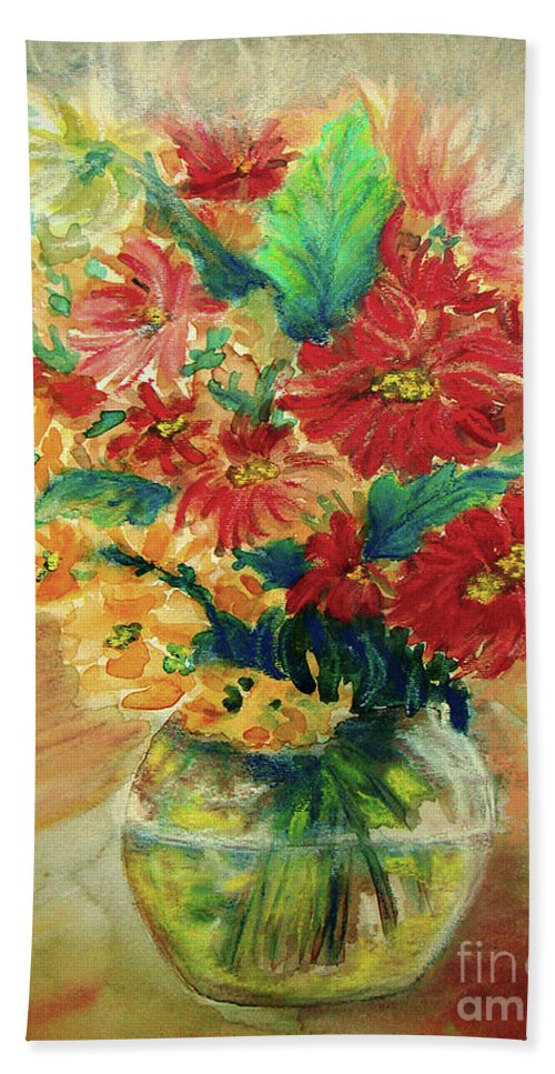 Flowers Beach Towel featuring the painting Vase by Jasna Dragun