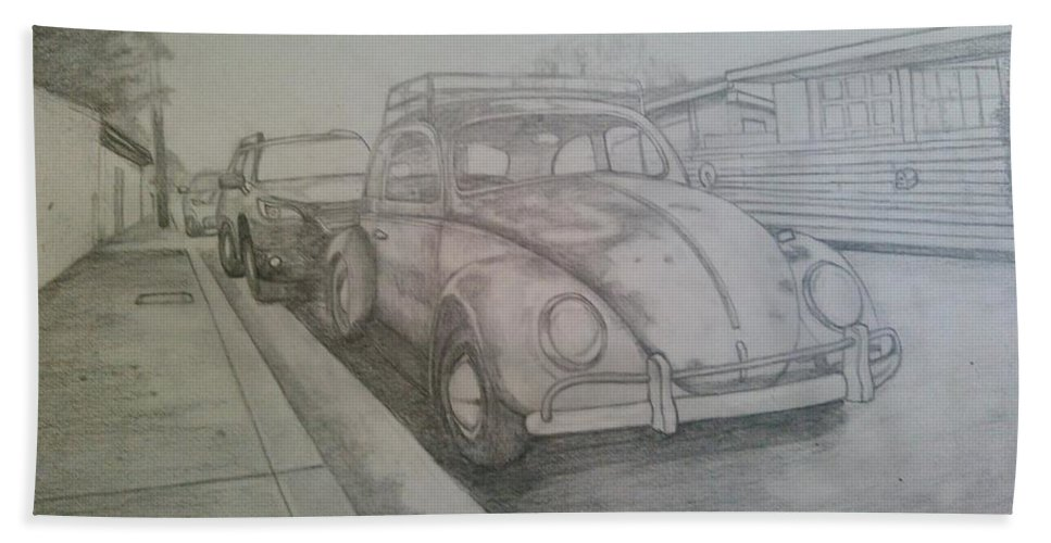 Drawing Of Vw Beach Towel featuring the drawing Vdub by Andrew Johnson