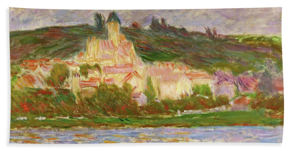 Claude Monet Beach Towel featuring the painting Vetheuil, 1902 - Digital Remastered Edition by Claude Monet