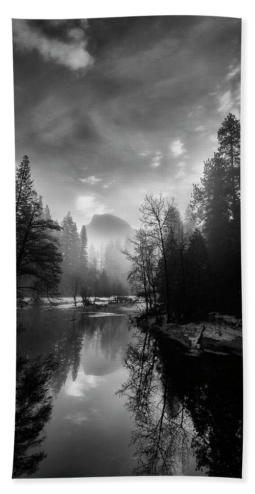 Fog Beach Sheet featuring the photograph View Of Half Dome II by Jon Glaser
