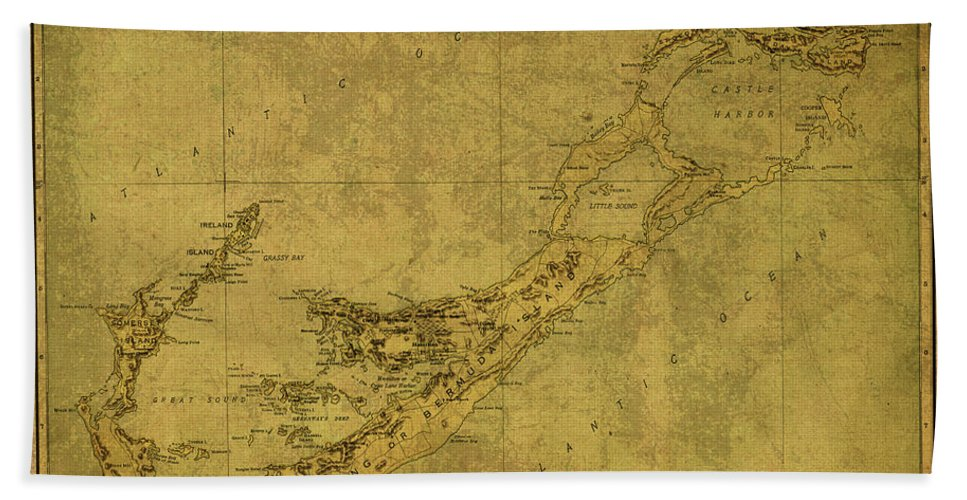 Vintage Beach Towel featuring the mixed media Vintage Map Of Bermuda by Design Turnpike