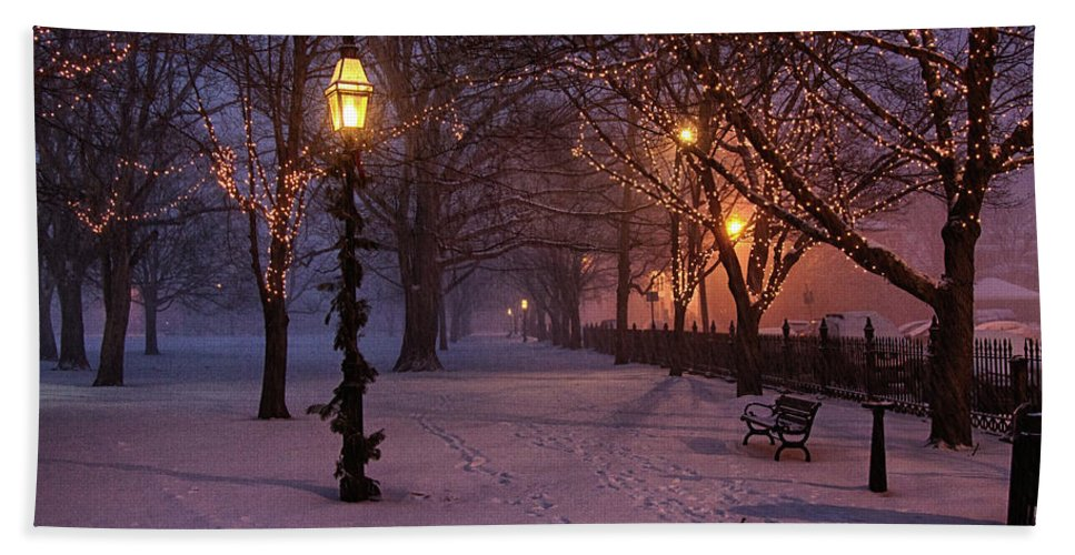 Salem Common Beach Towel featuring the digital art Walking The Path On Salem Ma Common by Jeff Folger