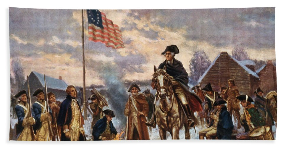 George Washington Beach Towel featuring the painting Washington at Valley Forge by War Is Hell Store