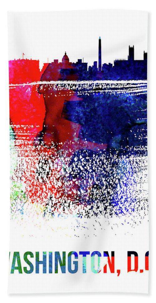 Washington D C Beach Towel featuring the mixed media Washington, D.c. Skyline Brush Stroke Watercolor  by Naxart Studio