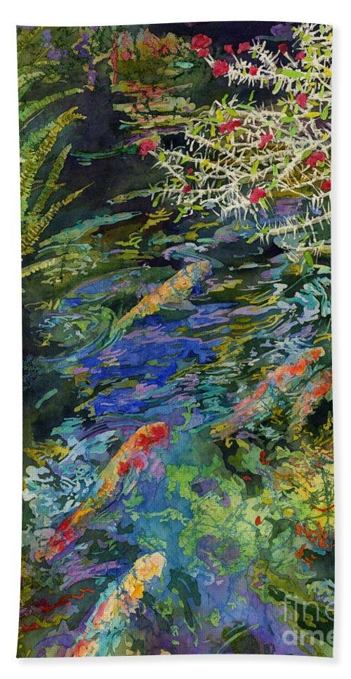 Koi Beach Towel featuring the painting Water Garden by Hailey E Herrera