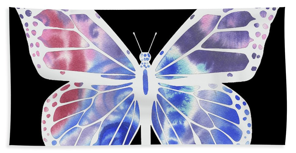 Butterfly Beach Sheet featuring the painting Watercolor Butterfly On Black V by Irina Sztukowski