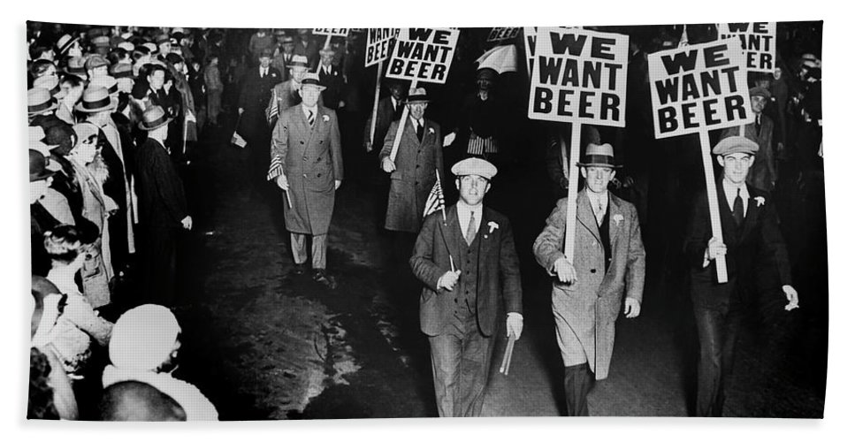 Prohibition Beach Towel featuring the photograph We Want Beer by Jon Neidert