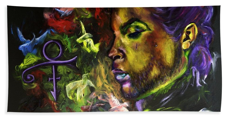 Prince Beach Towel featuring the painting When Doves Cry by Anitra Frazier