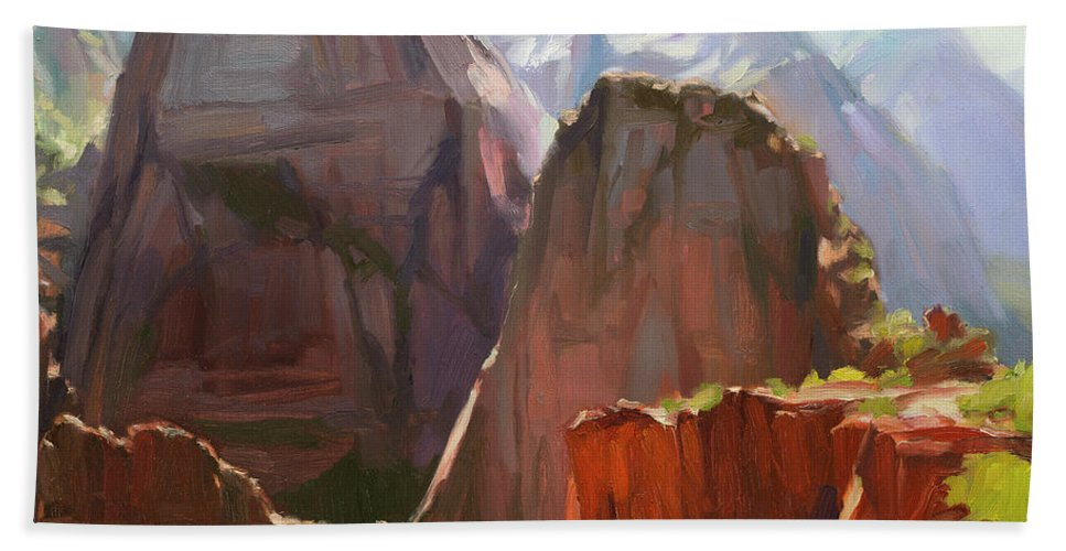 Zion Beach Towel featuring the painting Where Angels Land by Steve Henderson