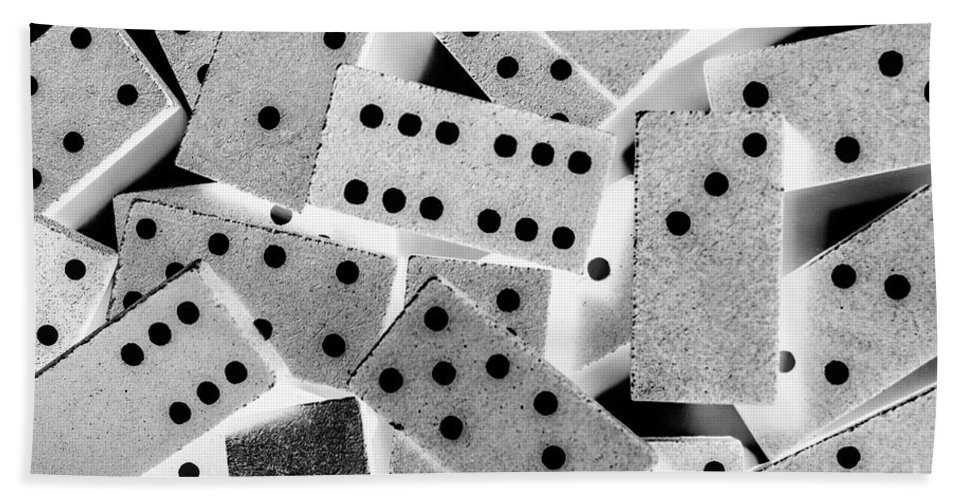 Game Beach Sheet featuring the photograph White Dots Black Chips by Jorgo Photography - Wall Art Gallery