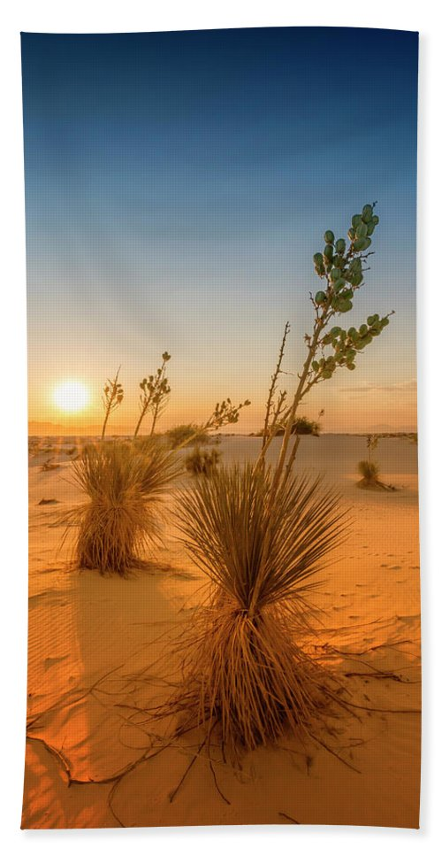 American Beach Towel featuring the photograph White Sands Sunset by Melanie Viola
