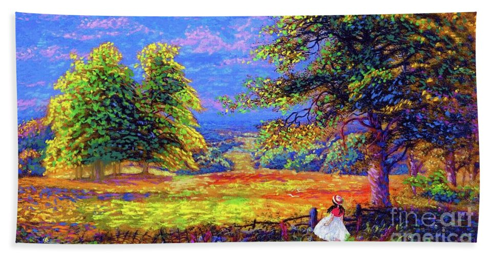 Wildflower Beach Towel featuring the painting Wildflower Fields by Jane Small
