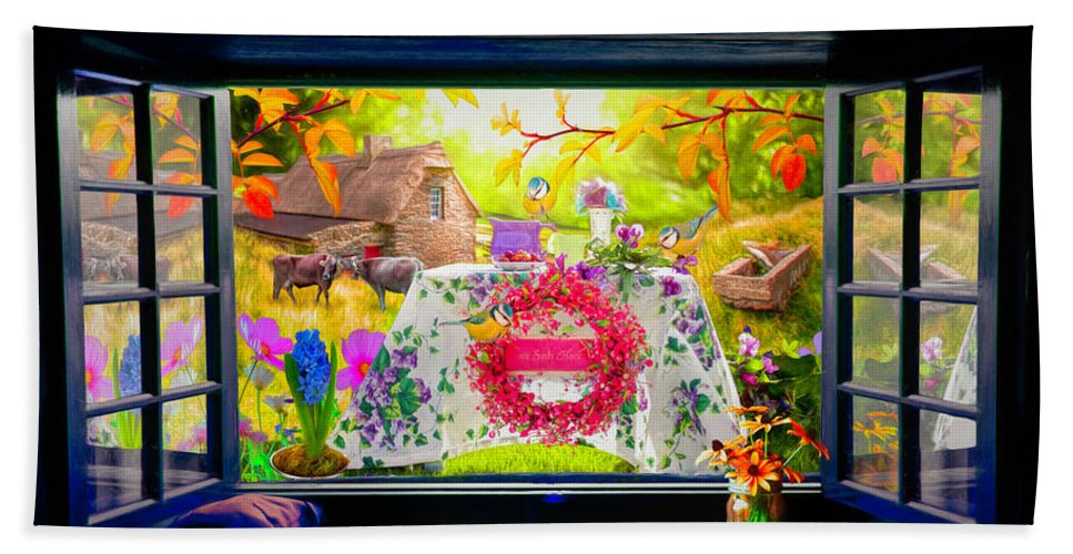 Barn Beach Towel featuring the digital art Window To The Garden by Debra and Dave Vanderlaan