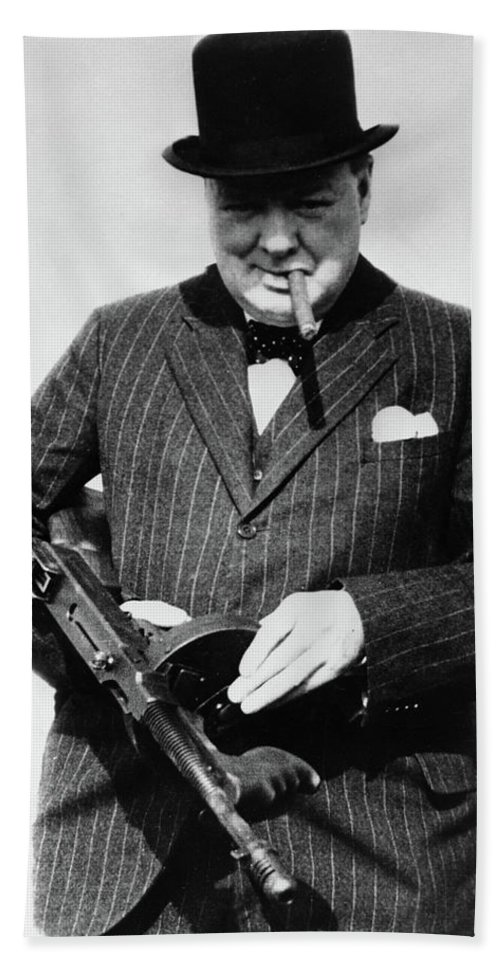 Winston Churchill Beach Towel featuring the painting Winston Churchill With Tommy Gun by English School